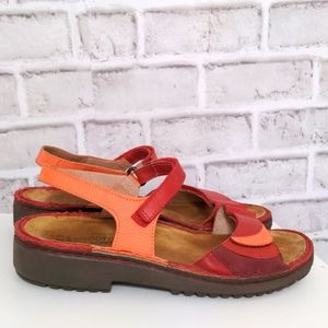 NAOT Leather Velcro Sandals Size 39 Red Orange